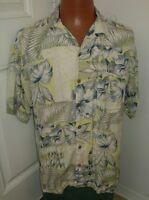 Tommy Bahama L (large) 100% Silk Mens Hawaiian Floral Short Sleeve Shirt