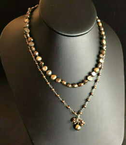 Freshwater Pearl Necklace Strand BRONZE Strand Y Drop Lot 2 Gold Filled 925#1650