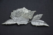 SILVER ROSE FLOWER LEAF 3' 8cm SEW IRON ON PATCH BADGE EMBROIDERY APPLIQUE TRIM