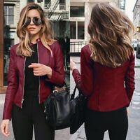 Pu Leather Jacket Women Fashion Motorcycle Coat Leather Biker Jacket Soft Jacket