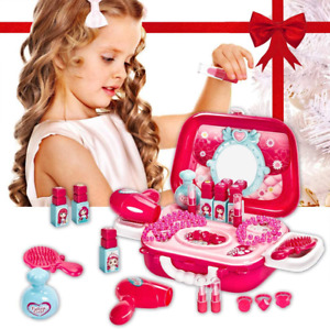 Buyger 21 PCS Kids Make Up Set Dressing Table for Girls Jewelry Hair Dryer Toy f