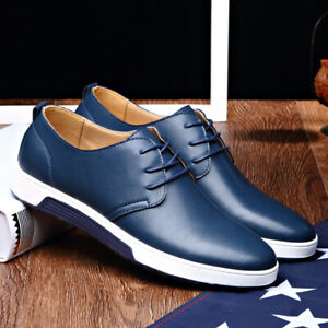 Men British Casual Genuine Faux Leather Round Toe Lace Up Oxford Breathable Shoe