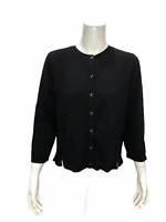 H by Halston Women's Cropped Cardigan with Side Rib Detail Black Medium Size