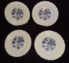 4 Mount Clemens Pottery BLUE ONION Dinner Plates - Embossed Rims /Purple Pattern