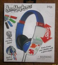 iHip DOODLEPHONES Headphones w/ Marker Blue 3+ Safe Sound! KIDS