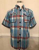 Parish Nation Men's Button Down Plaid Short Sleeve Top Blue Shirt Size L