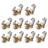 6.35mm 10pcs 1/4 Inch Home Audio Socket Jack Female Connector Panel Mount Solder