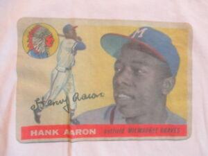 1955 HANK AARON No. 44 MILWAUKEE BRAVES (LG) T-Shirt #47 Topps Card
