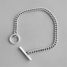 Solid 925 Sterling Silver Bracelet Curb Chain T-Bar Circle Women Jewelry Gift