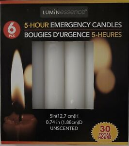 """Emergency White Wax Candles 5""""H X 0.75""""D 5 Hours Unscented 6/Pk 30 Total Hours"""