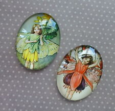 4 pcs 25x18mm Domed Oval Cabochons Character cabochon Fairy cabochon F2