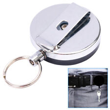 Heavy Duty Retractable Pull Chain ID Holder Reel Recoil Key Ring Belt Clip