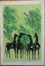 """Tamami Shima-Modernist 1965 Woodcut """"Whispering Horses""""Signed & Limited"""
