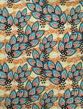 "African Print, Cotton Stretch Fabric - Orange, Yellow ""Kivu Leaves,"" Per Yard"