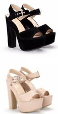 Ladies High Platform Block Heel Ankle Strap Black Nude Sandals Size 3 - 8 UK