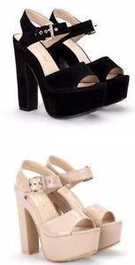 Ladies High Platform Block Heel Ankle Strap Black Nude Sandals Size 3 - 8 UK