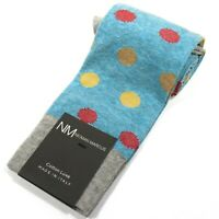 Neiman Marcus Men's OTC Polka Dot Dress Socks Over-the-Calf Italy Aqua Blue