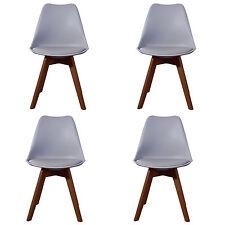 4 X (4X) (X4) GREY Jamie Dining Chair WALNUT Designer SOFT PAD FAUX LEATHER