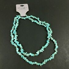 Genuine Turquoise Stone Necklace Single Strand Small Beads 40 Inch Jewelry Rocks
