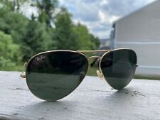 Ray-Ban Men's Sunglasses AVIATOR, USED; Gold Frame on Greenish/Black Lens