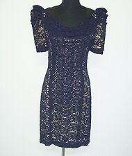 CUE - black lace dress, flesh colour lined, size 10 Wedding Formal Cocktail