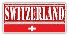 """Switzerland Grunge Travel Stamp Car Bumper Sticker Decal 6"""" x 3"""""""