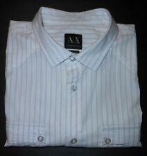 ARMANI EXCHANGE WHITE / BEIGE STRIPES S/S COTTON DRESS SHIRT AX7701A1