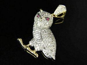 Delicate 1.10Ct Round Cut VVS1 Diamond Unisex Iconic Owl 14K TwoTone Gold Finish