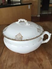 Antique KT&K Co.  Porcelain Semi-Vitreous  - Covered Chamber Pot Commode