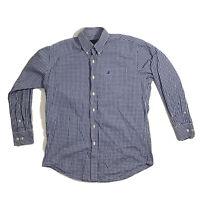 Nautica Blue White Plaid Button Down Up Long Sleeve Shirt 15-1/2 32-33
