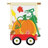 Fall Pumpkins Hand Wagon - Applique Decorative House Flag - H113021-P2