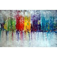 Abstract Huge Landscape Painting COLORFUL MIST Pollock Drip Art