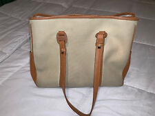 Authentic Salvatore Ferragamo Hand Tote Bag Vara Canvas Leather Brown Tan