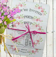 Personalised Handmade Day/Evening Wedding Invitations 'Fantasy Floral' *SAMPLE*