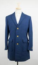 New D'AVENZA Navy Blue Tweed Wool Jacket Size 50/40 R $3795