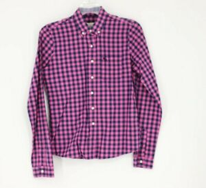 Abercrombie & Fitch Long Sleeve Plaid Button Down Shirt Size Small Navy Pink