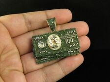 Men's 100 Dollar Bill Currency Pendant in 1.66 ct Round Green Sapphire Sim Diam