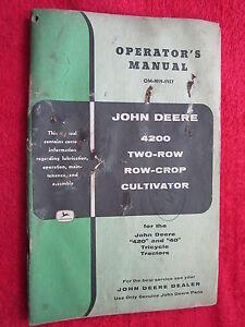 VINTAGE ORIGINAL JOHN DEERE 4200 TWO-ROW ROW-CROP CULTIVATOR OPERATORS MANUAL