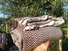 Pure 100% Cashmere Blankets  Nepalese Handmade purple with white herringbone