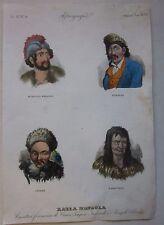 1845 CARATTERI FISIONOMICI MONGOLIA TUNGUSIC CHINA NENETS acquaforte Marmocchi
