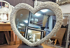 Large Heart Wall Mirror Ornate Antique Cream French Engrved Roses Glass 110X90cm