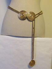 authentique ceinture vintage YVES SAIN LAURENT métal doré