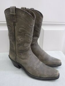 ARIAT 9 B 40 Brown Flower Embroidered Pointy Tall Western Cowboy Cowgirl Boots