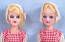 2 Holland Dutch Girl Dolls Hard Plastic Vintage Red Blue Gingham Dresses As Is