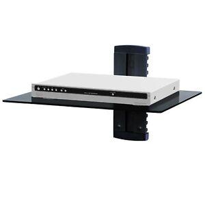 Adjustable Single Wall Mount Shelf DVD DVR Player Bracket W/ Tempered Glass Top