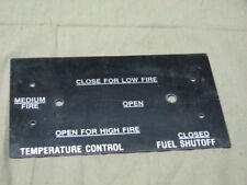 US military data plate temperature control aluminum stove burner fuel shutoff