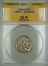 1913-D Type 2 Buffalo Nickel 5c Coin ANACS VG-8 Details Cleaned