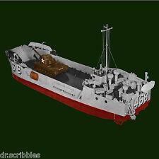 "Model Boat Plan 1/48 Scale Radio Control 30"" LCU  landing Craft  & building note"