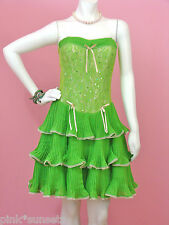 Betsey Johnson Lime Green April Sequin Dress Prom Evening Party Cocktail