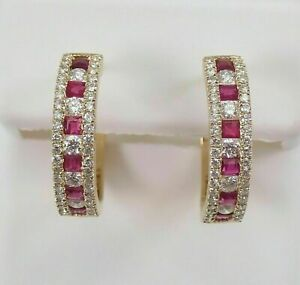 Delicate 3Ct Princess Cut Red Ruby Huggie Hoop Earrings 14K Yellow Gold Finish